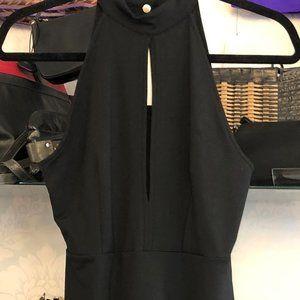 DONNA MIZANI Sleeveless Little Black Halter Dress